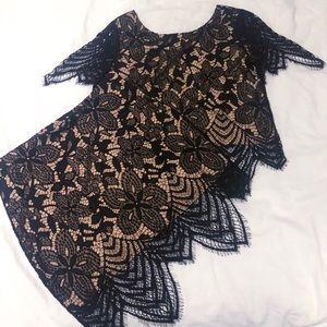 Two-piece Lace Dress Set - Crop Lace Top & Skirt